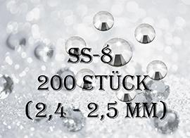 ss8 -200 Stück - Straßsteinchen (2,3 - 2,4mm)
