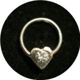 Piercing - Silver925 - Herz mit klarem Zirkonia -NP028