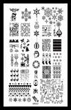 Stamping Schablone *Schneemann, Eiskristall, Rentier, Nikolaus -#MR-02