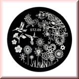 Stamping Schablone *Kolibri, Vögel, Blumen - #STZ09