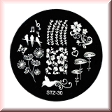 Stamping Schablone *Pusteblume, Blume, Ranken, Vögel - #STZ-30