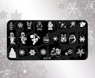 Stamping Schablone XLR-09* Schneemann,Schneeflocken,Lebkuchenmännchen,Rentier,Sterne