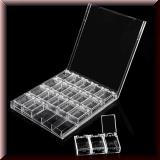 Klare Aufwahrungsbox für Straßsteinchen, Over-/Inlay, Piercing
