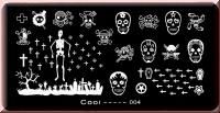 Stamping Schablone *Skelett,Totenkopf,Kreuz,Sarg,Halloween -#Cooi04