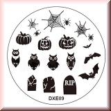 Stamping Schablone DXE9*Spinne,Netz,Kürbis,Eule,RIP