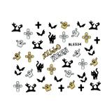 Halloween Nagelsticker *Katze, Kreuz, Fledermaus, Geister* *BLE 534