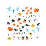 Halloween Nagelsticker **Schwarze Katze, Kürbis, Geist, Spinnennetz *H113