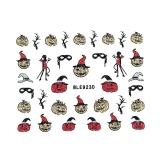 Halloween Nagelsticker Glitter *Kürbis, Teufelchen, Hexenhut, Maske* *BLE 923