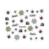 Halloween Nagelsticker Glitter *Spinne, Spinnennetz, Fledermaus* *BLE 924