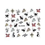 Halloween Nagelsticker Glitter *Katze, Geist, Kreuz, Baum, Halloween* *BLE 926