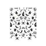 Halloween Nagelsticker mit Straß *Hexe, Geist, Fledermaus, Knochen *H2
