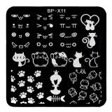 Stamping Schablone  *Katzen, Pfoten, Fishbone, Glückskatze -#BP-X11