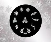 Stamping Schablone *Schneeflocken,Eiskristalle,Pinguin,Tannenbaum,Sterne -#A39