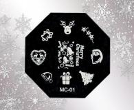 Stamping Schablone *Rentier,Weihnachtmann,Mütze, Sterne,Glocke -#MC01