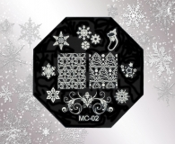 Stamping Schablone *Sterne,Eiskristalle,Strumpf,Weihnachtsstern -#MC02