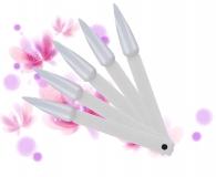 Präsentationsfächer mit 40 *Natur* Stiletto Tipstäbchen für Lacke/Gele