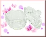 Facettiertes Glas Dappen Dish - mit Deckel