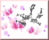 Glänzende Delfine - Silber