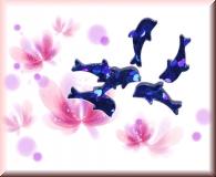 Glänzende Delfine - Dunkelblau