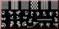 Stamping Schablone SA-07*Arielle,Biene,Muschel,Engel,Herz