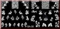 Stamping Schablone SA-30* Calla,Schnecke,Frosch,Küken,Reiher