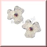 2 Stück Blumen mit Perlchen und Straß - #12