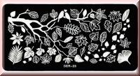 Stamping Schablone *Blätter, Ast, Vögel -#Der-29