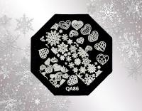 Stamping Schablone *verschiedene Herzen,Eiskristalle -#QA86*W