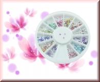 Rondell - 600 irisierenden runden Straßsteinchen *versch.Farben* (1,4 mm)