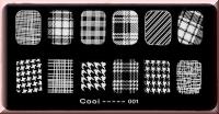 Stamping Schablone *Hahnentritt, Pepita, Glencheck, Paisley -#Cooi01