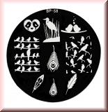 Stamping Schablone *Vögel, Federn, Herz -#BP58