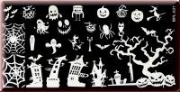 Stamping Schablone *Hexe,Spinne,Kürbis,Fledermaus,Spinnennetz,Katze -#BPL-031