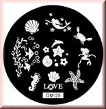 Stamping Schablone *Meerjungfrau, Delfin, Muschel, Krebs, Fische -#OM25