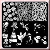 Stamping Schablone *Katze, Pfoten, Ringe, Libelle, Gläser -#Helen20