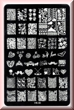 Stamping Schablone *Krone,Rose,Bart,Muffin,Noten,Fullcover Designs - HK05