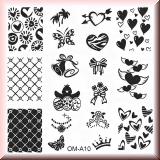 Stamping Schablone *Herz, Amor, Netz, Schmetterling, Schleife - #OM-A10