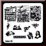 Stamping Schablone *Hibiskus, Pandabär, Schrift, Gender, Schildkröte - #Helen06