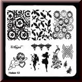 Stamping Schablone *Engel, Amor, Pfau, Blätter, Farn - #Helen12