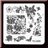 Stamping Schablone *Diverse Blüten, Blätter, Blumenranke - #TU-005