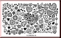 Stamping Schablone *Div. Herzen mit versch. Muster - #Flowers19
